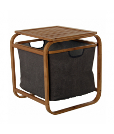 Portarropa madera bambú c/cesto gris