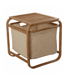 Portarropa madera bambú c/cesto