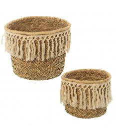 Set 2 cestos paja natural c/flecos algodón