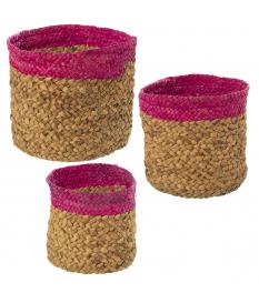 Set 3 cestos paja natural/fucsia
