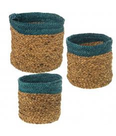 Set 3 cestos paja natural/azul