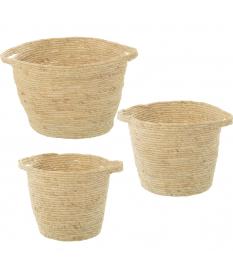 Set 3 cestos hojas de maíz natural