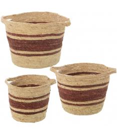 Set 3 cestos hojas de maíz natural/burdeos