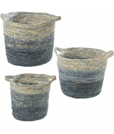 Set 3 cestos hojas de maíz tonos azules