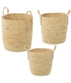 Set 3 cestos hojas de maíz/hierba de mar natural