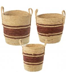 Set 3 cestos hojas de maíz/hierba de mar natural/burdeos