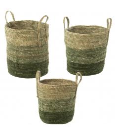 Set 3 cestos hojas de maíz/hierba de mar tonos verdes