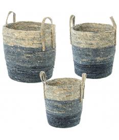 Set 3 cestos hojas de maíz/hierba de mar tonos azules
