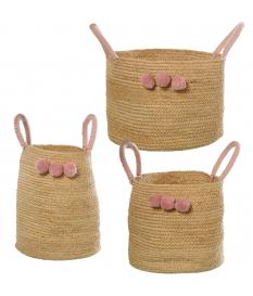 Set 3 cestos c/asas hierba denar natural c/pompones rosa