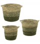 Set 3 cestos hojas de maíz tonos verdes