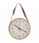 Reloj de pared madera, colgador polipiel