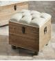 Descalzadora-puff baúl en madera y tela